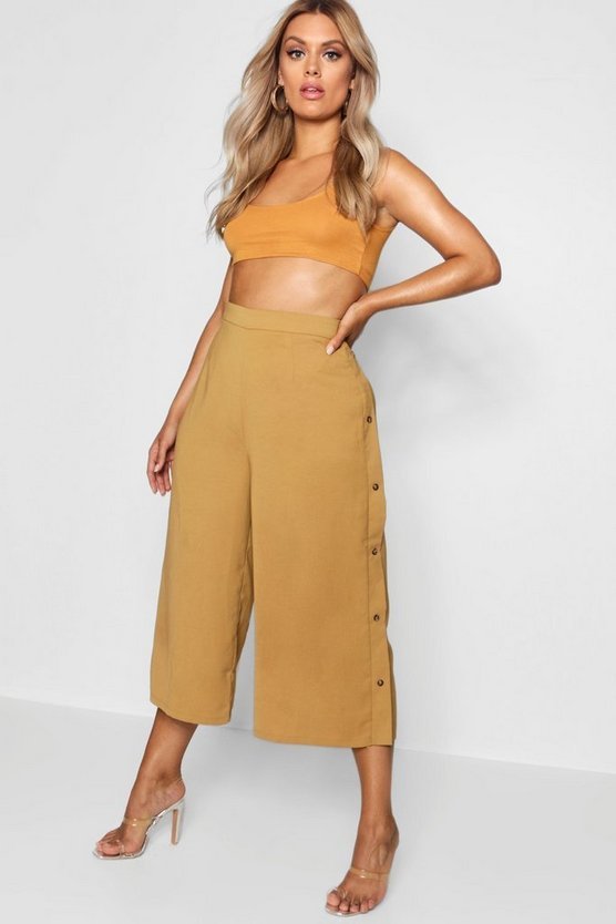 Plus Horn Button Side Culottes