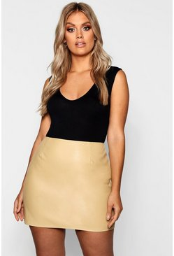 Womens Camel Plus Leather Look A Line Mini Skirt