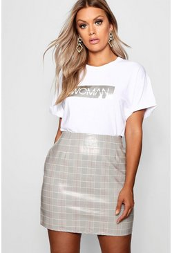 Womens Grey Plus High Shine Checked A Line Mini Skirt