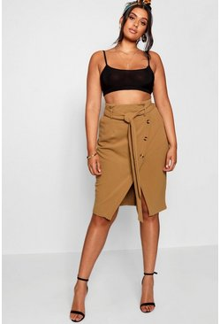 Womens Khaki Plus Asymmetric Horn Button Midi Skirt