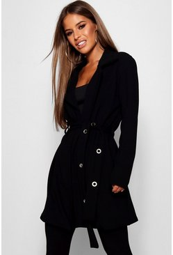 Womens Black Petite Eyelet Detail Duster