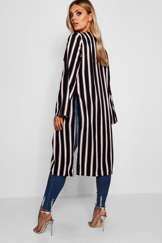 con estampado midi negro rayas Kimono Plus a BRSxTwTO4q