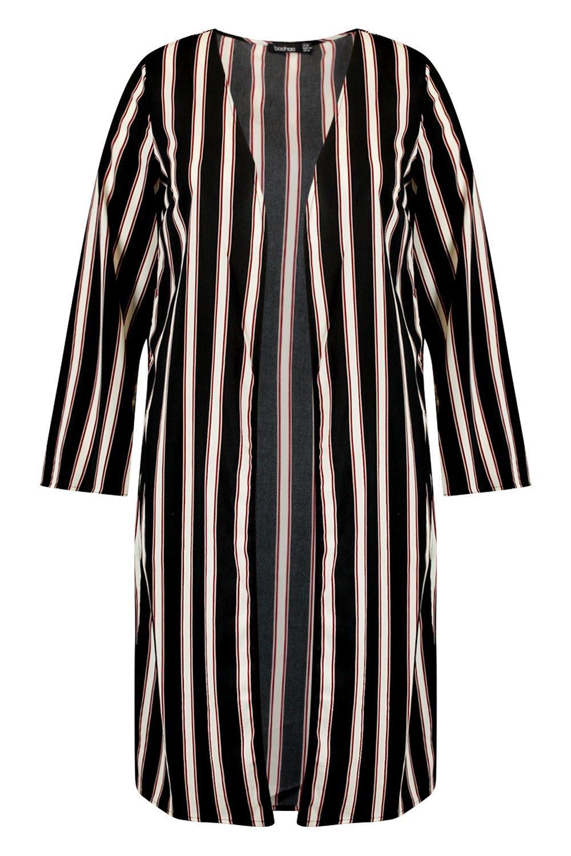 a midi rayas Kimono estampado con Plus negro tZqw4p