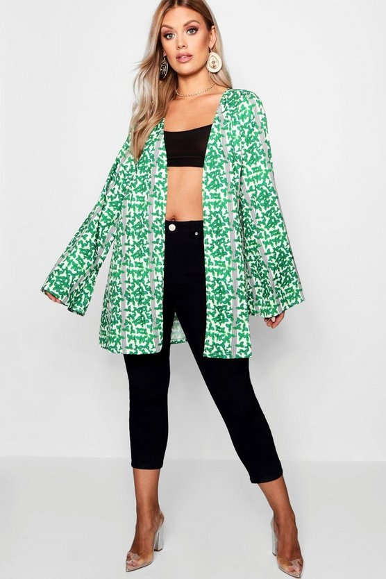 Womens Green Plus Stripe + Leaf Print Kimono