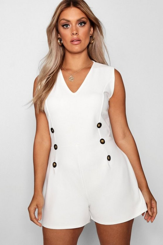 Plus Crepe Horn Button Detail Playsuit