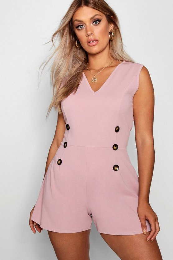 Plus Crepe Horn Button Detail Romper