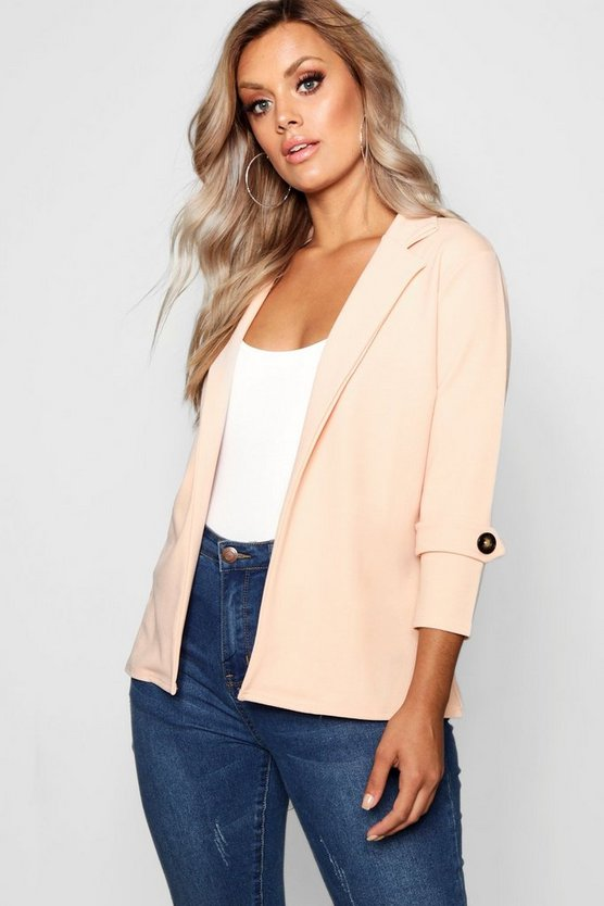 Plus Crepe Button Blazer