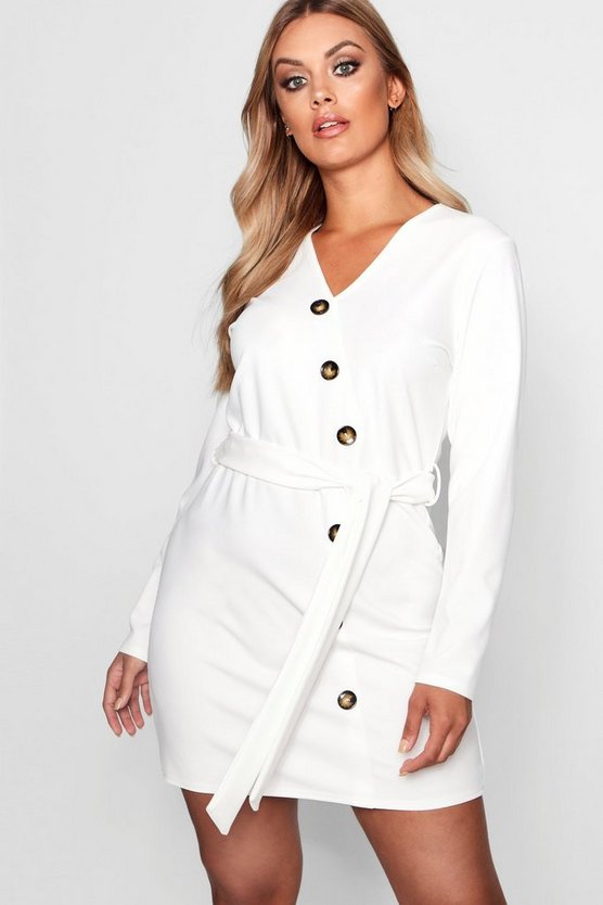 Womens Ivory Plus Crepe Horn Button Tie Dress