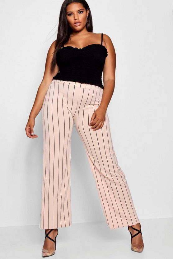 Plus Pinstripe Wide Leg Trouser