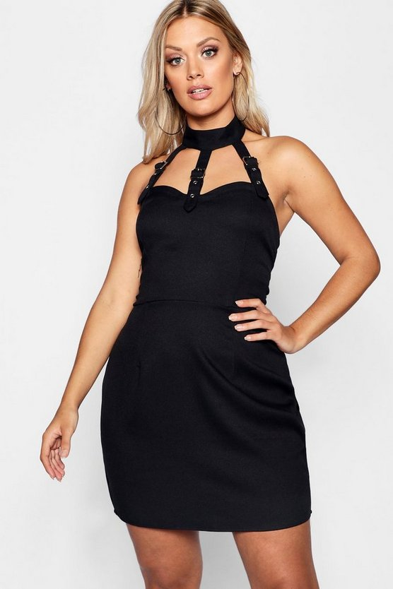 Womens Black Plus Buckle Neck Caged Detail Dress