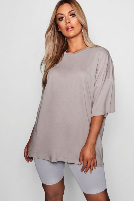 Womens Plus Washed Pastel Oversized Boyfriend Tee