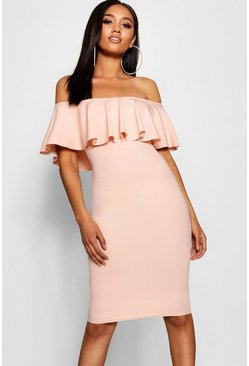 Womens Blush Petite Bardot Frill Midi Dress