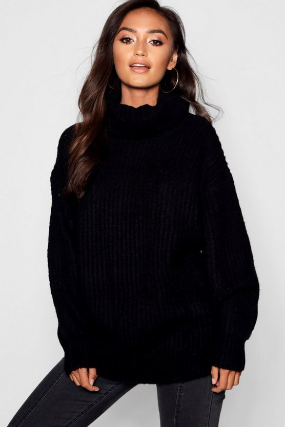 Petite Oversized Roll Neck Rib Knit Jumper