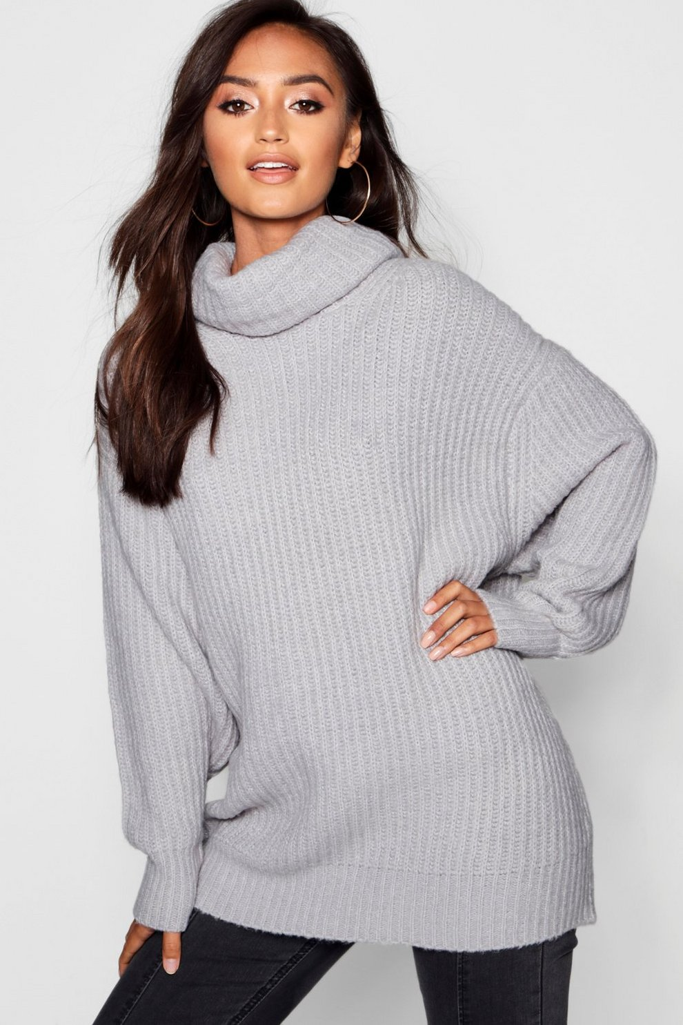464eef669e8158 Petite Oversized Roll Neck Rib Knit Jumper | Boohoo