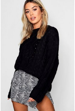 Womens Black Petite Oversized Cable Knit Balloon Sleeve Jumper