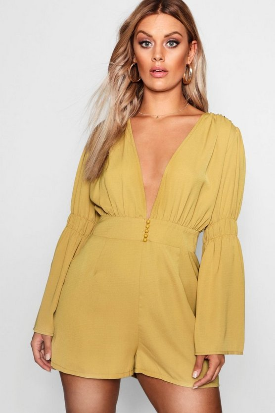 Plus Plunge Button Flare Sleeve Playsuit