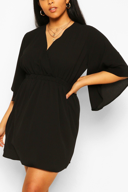 Plus Kimono Sleeve Woven Skater Dress 4