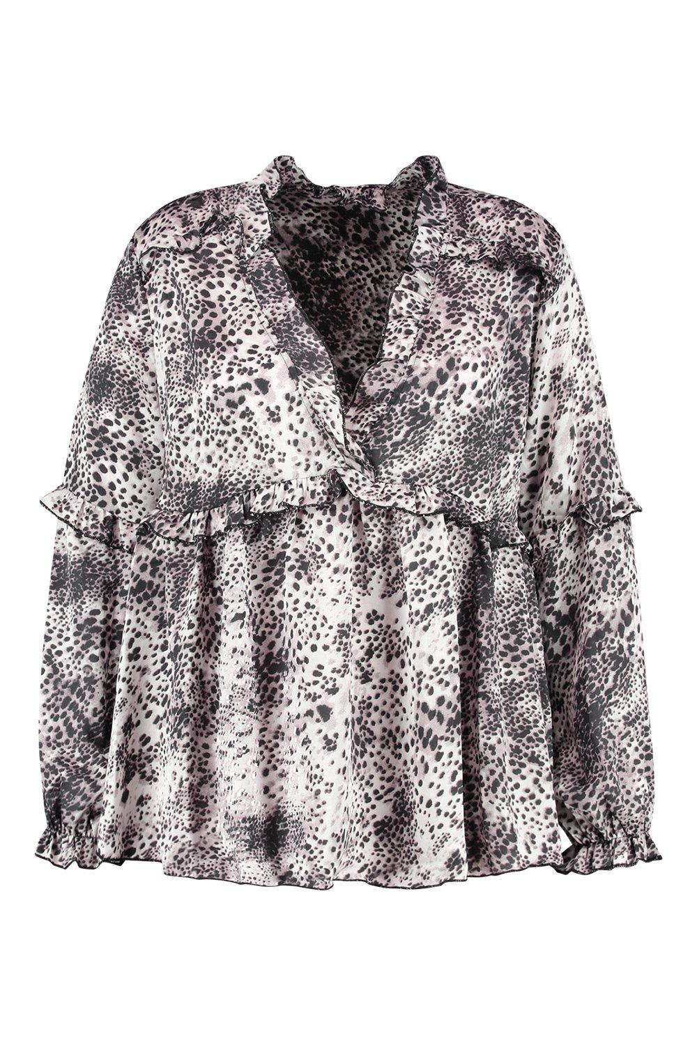 escote con estampado animal y Plus volantes Blusa gris pronunciado FO4qPwP
