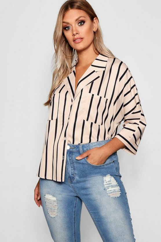 Plus Stripe Oversized Shirt