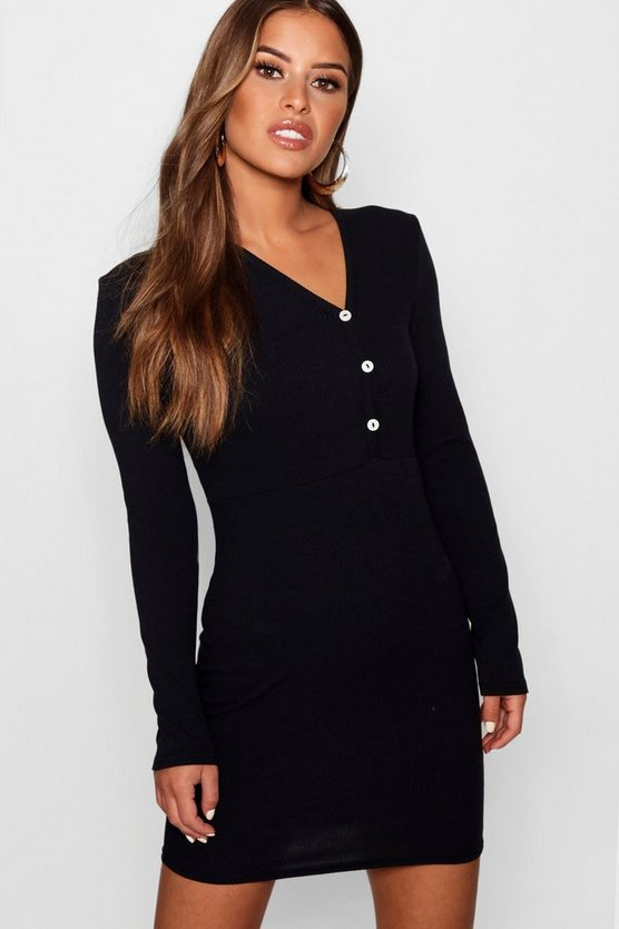 Petite Lucy Button Front Rib Bodycon Dress