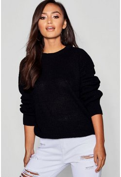 Petite Ivy Oversized Jumper, Black, DAMEN