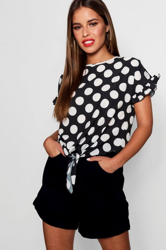 Petite Donna Oversized Spot Knot Front Woven Top