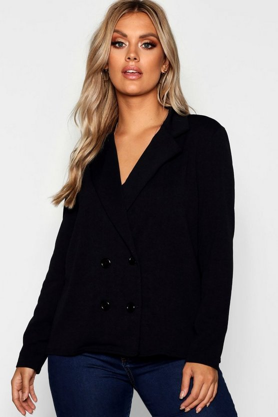 Plus Tailored Button Blazer