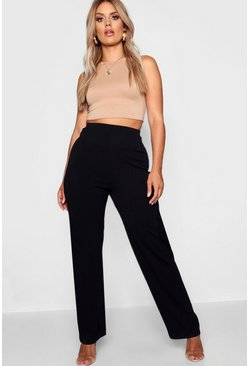 Womens Black Plus Tailored Straight Leg Trouser
