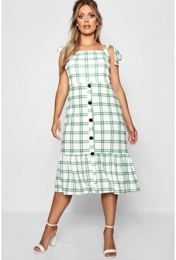 Womens Green Plus Jill Woven Check Button Midi Dress