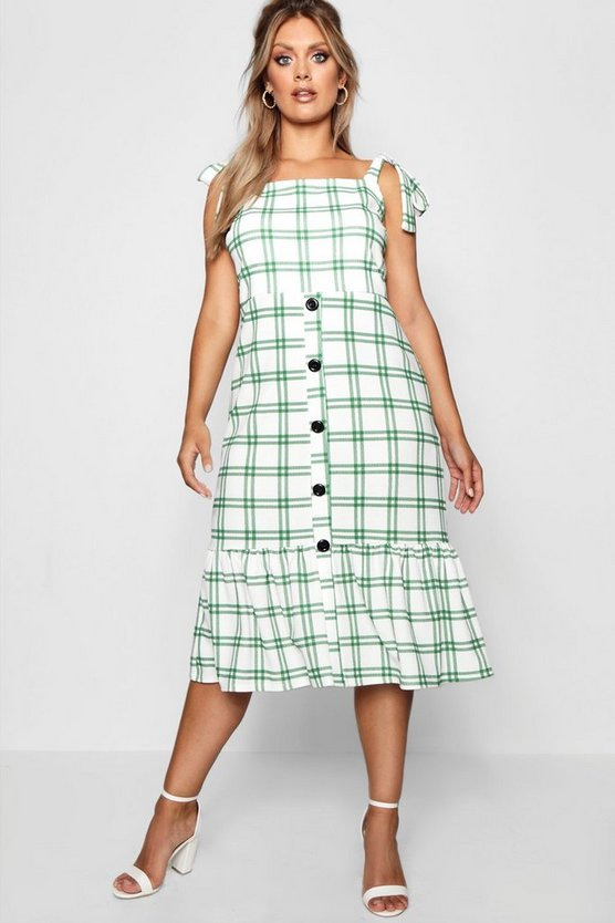 Plus Jill Woven Check Button Midi Dress