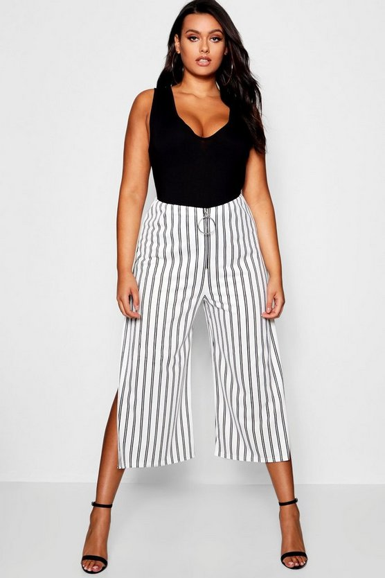 Plus Ashleigh Stripe O Ring Culottes