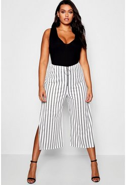 Womens White Plus Ashleigh Stripe O Ring Culottes