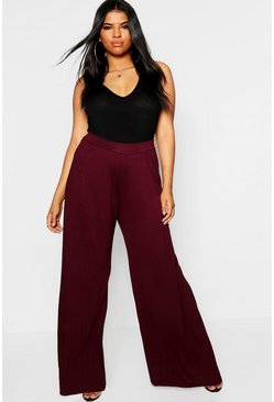 Womens Berry Plus Jersey Wide Leg Trouser