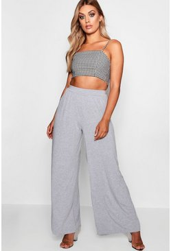 Womens Grey Plus Jersey Wide Leg Pants