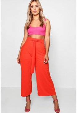 Orange Plus Crepe Tie Waist Culottes