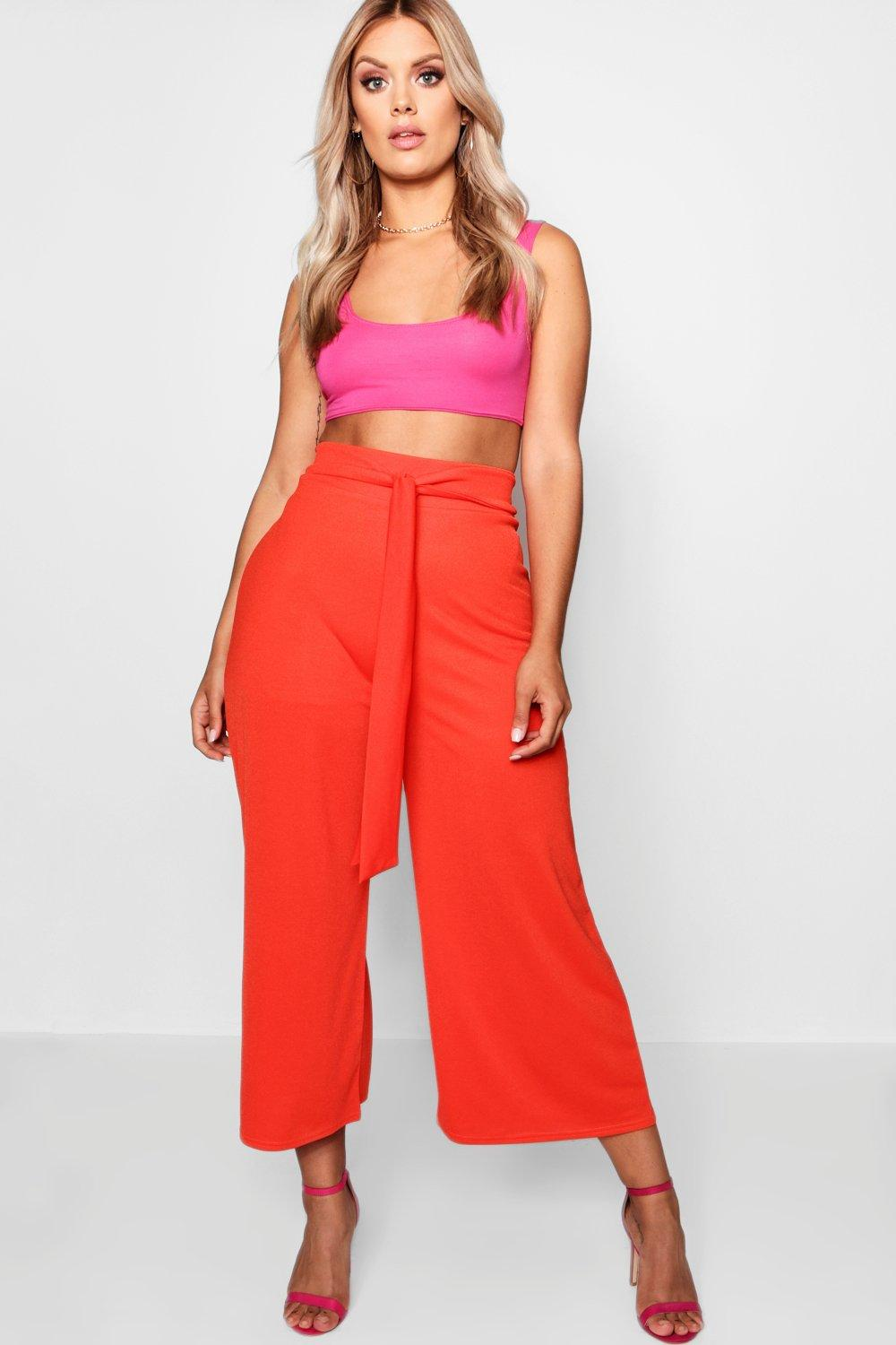 Culottes Crepe orange Plus Tie Waist w1BUqAAv
