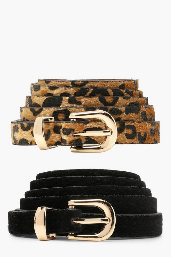 Womens Black Plus Orla 2 Pack Leopard + Suedette Belt