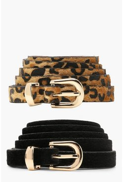 Black Plus Orla 2 Pack Leopard + Suedette Belt