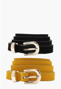 Womens Mustard Plus Lydia 2 Pack Skinny Suedette Belt