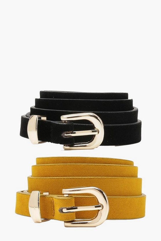 Plus Lydia 2 Pack Skinny Suedette Belt