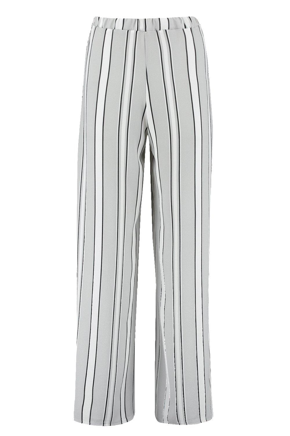 Petite Stripe grey Wide Leg Woven Trouser q8UwgqrTv