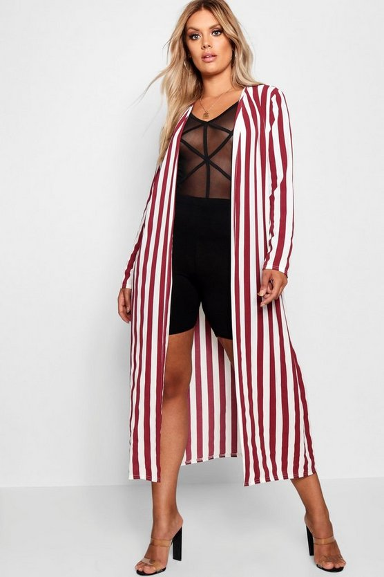 Plus Woven Stripe Tie Belt Duster