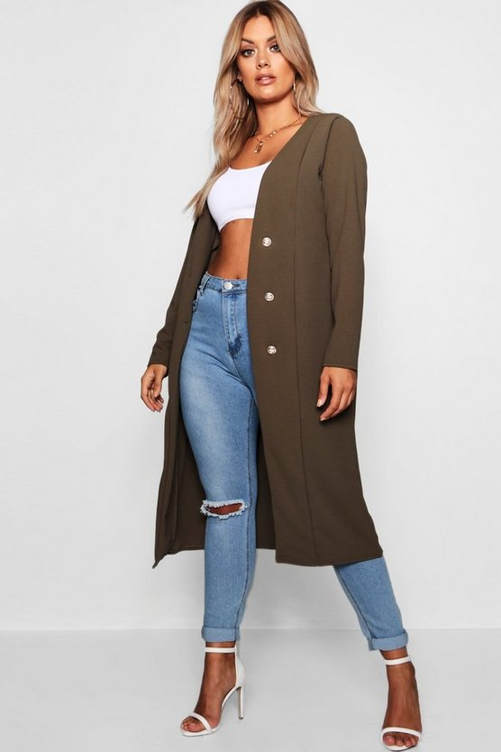 Plus Maddie Crepe Button Down Duster