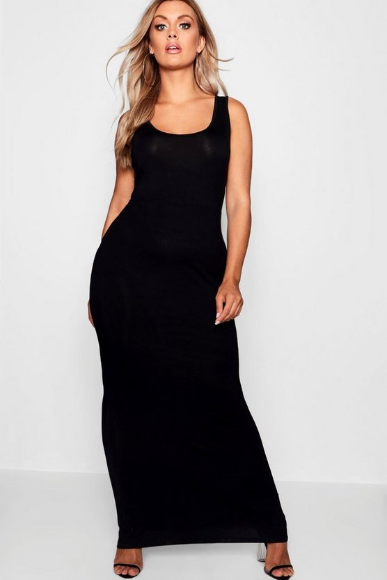 Plus Scoop Neck Maxi Dress, Black, DAMEN