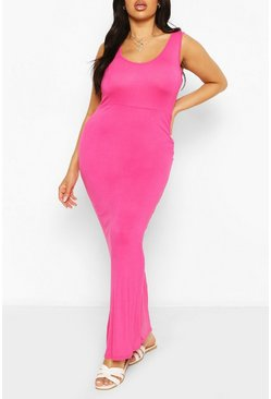 Cerise Plus Scoop Neck Maxi Dress