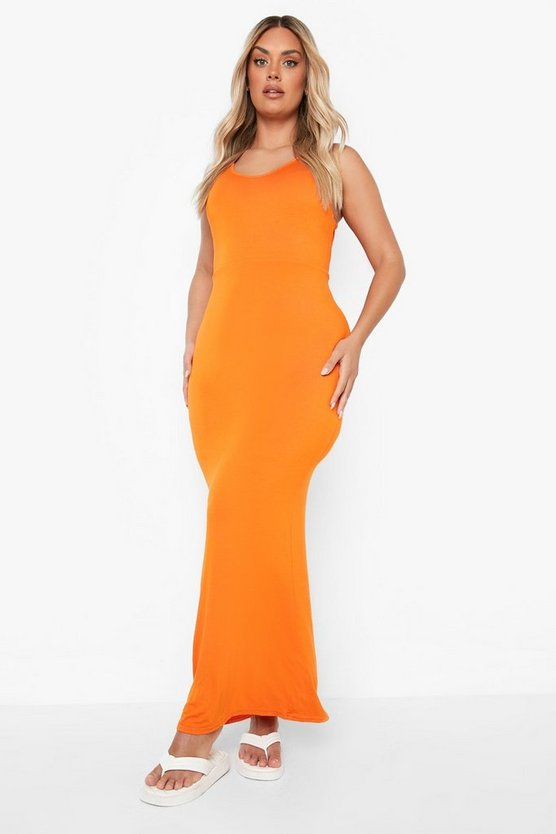 Womens Orange Plus Scoop Neck Maxi Dress