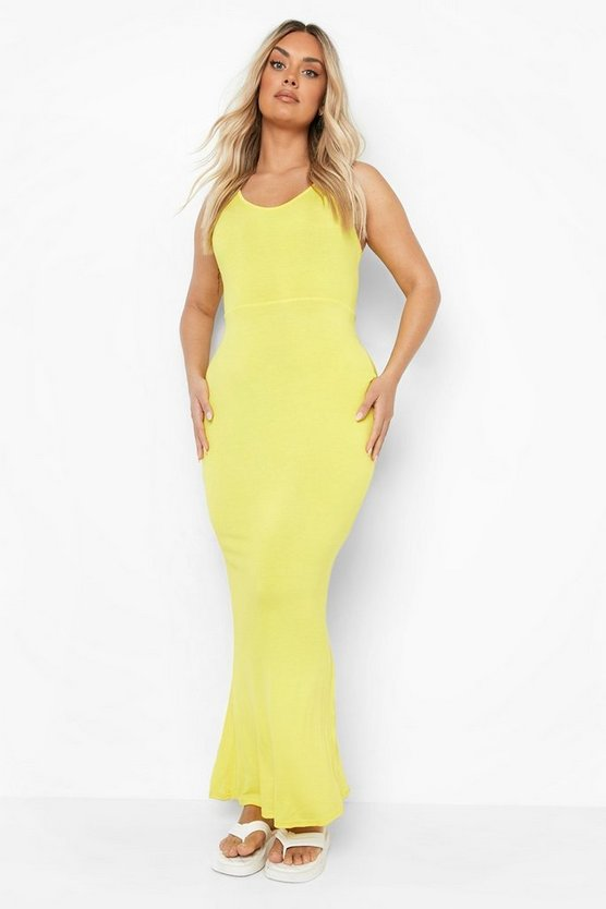 Womens Yellow Plus Scoop Neck Maxi Dress