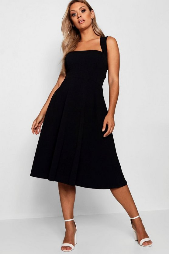 Womens Black Plus Square Neck Midi Dress