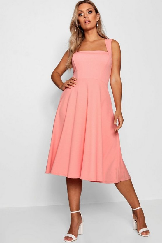 Plus Square Neck Midi Dress