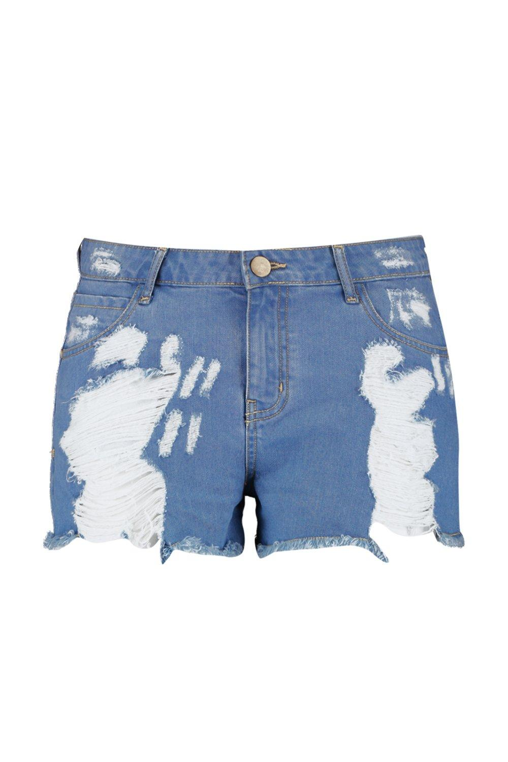 Plus Denim Distressed Short Mid blue Wash rqfHrwvBt